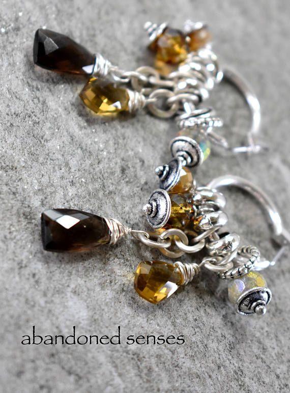 earrings citrine earrings smoky quartz earrings hoop