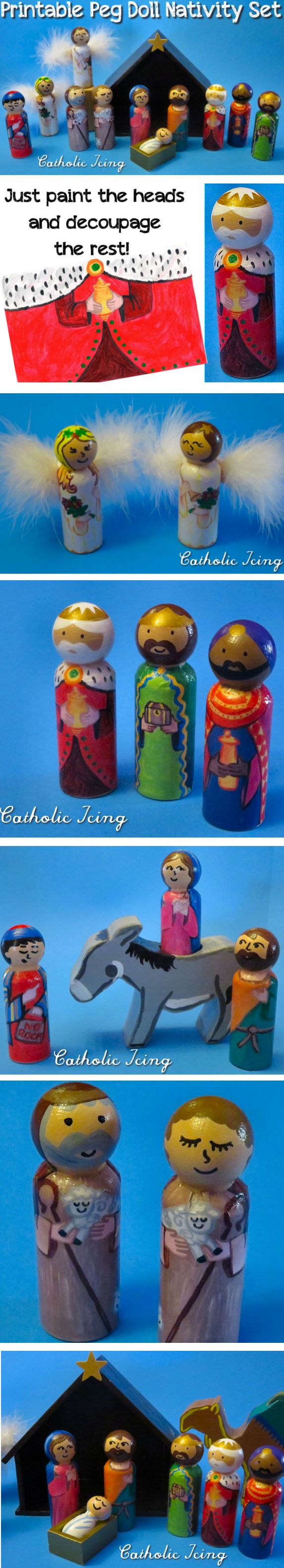 Peg doll nativity set- this one is printable! You just paint the heads and decoupage the rest. What an easy way to make an heirloom gift for your kids this Christmas! This set comes with Mary, Joseph, 3 Wise men, 2 Shepherds, and 2 Angels and the Inn Keeper, and the download is so affordable!