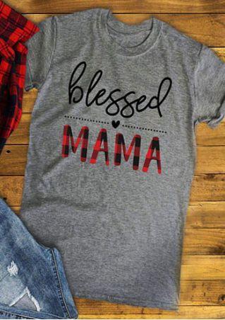 Blessed Mama O Neck Short Sleeve T Shirt Buffalo Plaid