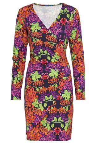 Donkerblauwe jurk met oranje/paarse-print van Lien en Giel van Lien & Giel - Casual Jurken