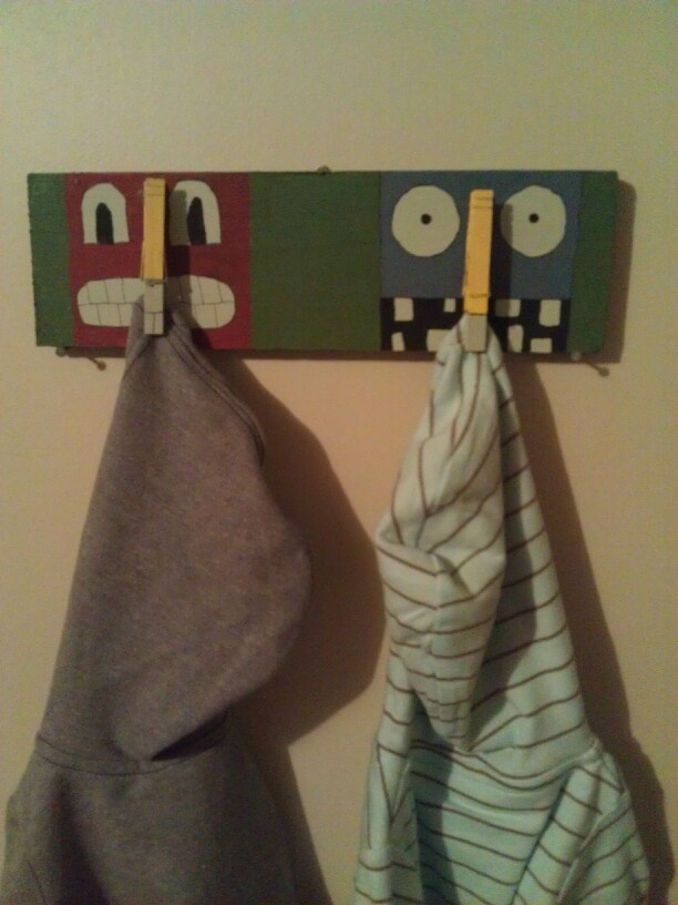 Monster clothes pin jacket holder ;)