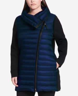 Calvin Klein Performance Plus Size Puffer Coat - Gray 1X