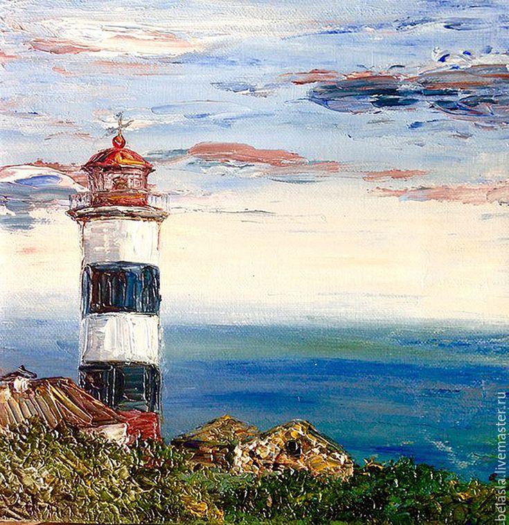 Купить Маяк Егорова, Японское море, Россия, картина маслом - голубой, белый, красный, зеленый