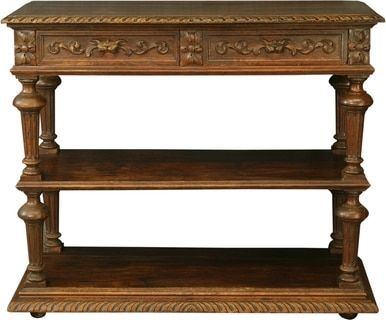Antique French Server Oak Fluted Column Legs Two Shelves Drawers Carvings