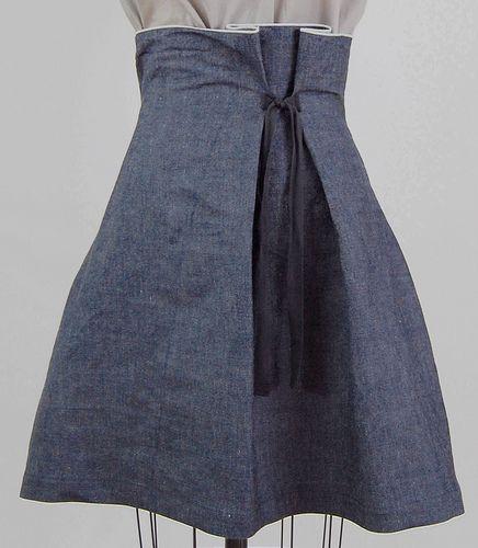 https://flic.kr/p/4vQXcC   denim tie skirt   slightly stiff denim to hold a bell shape, raw selvage edge at waist.