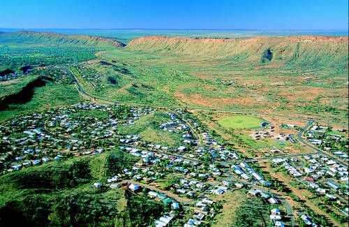 Alice Springs, Australia. The MacDonnell Ranges are in the background.