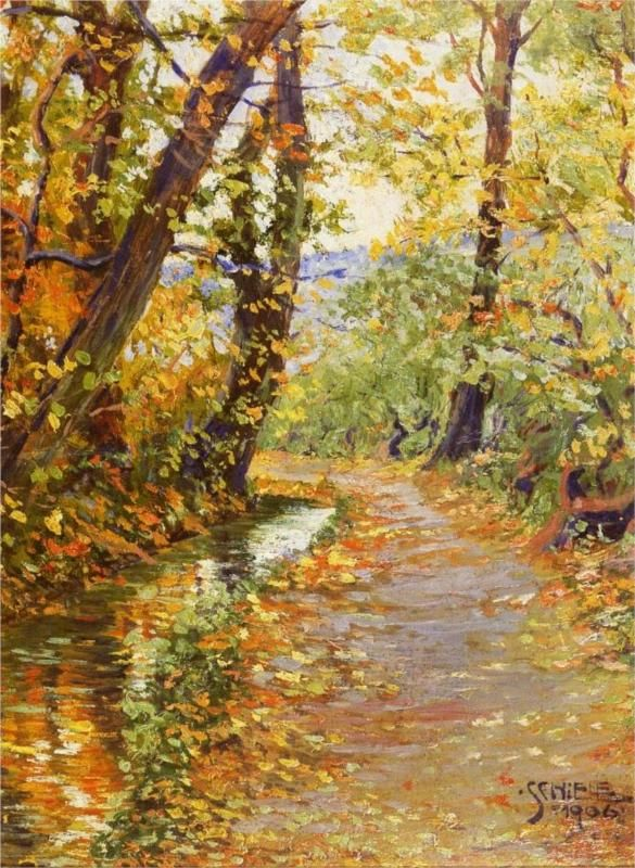 """""""Winding Brook"""" in 1906 by Egon Schiele. Oil on canvas.: Artists, Fall Leaves, Oil On Canvas, Wind Brooks, Landscape, Vienna Austria, Painting, 1906, Egon Schiele"""