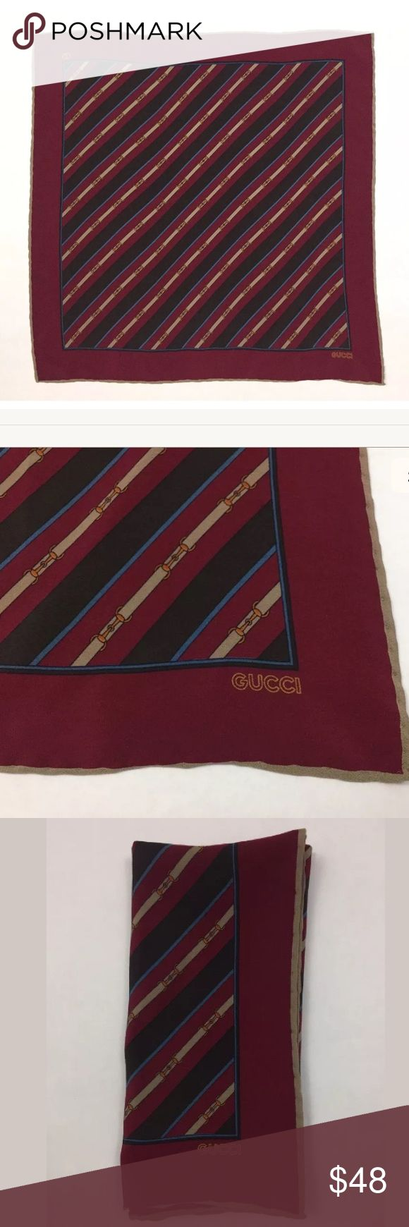 """Vintage Gucci Silk Handkerchief/Scarf/Handbag Tie 16x16"""". 100% Silk. Made in Italy. Missing hang tag (have same exact handkerchief in blue with hangtag). Can be worn as a scarf, to tie on to handbag or for a mans pocket square. Gucci Accessories"""