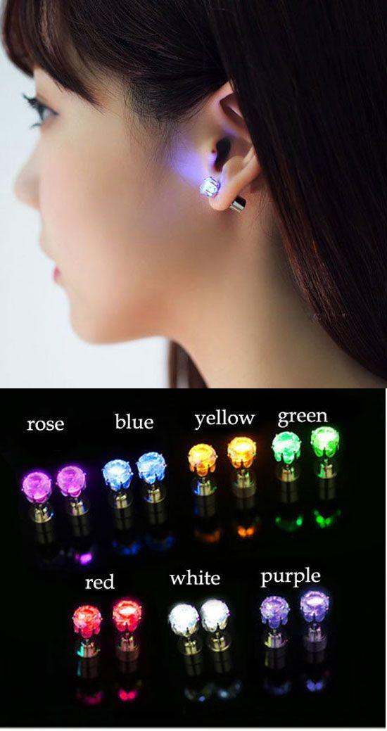 Very cool earring ! Originality Flash Led Light Earrings #led #light #earring #studs #cool