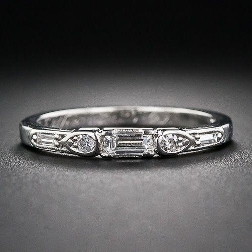 I would like a fairly flat engagement ring. Art Deco Diamond Wedding Band
