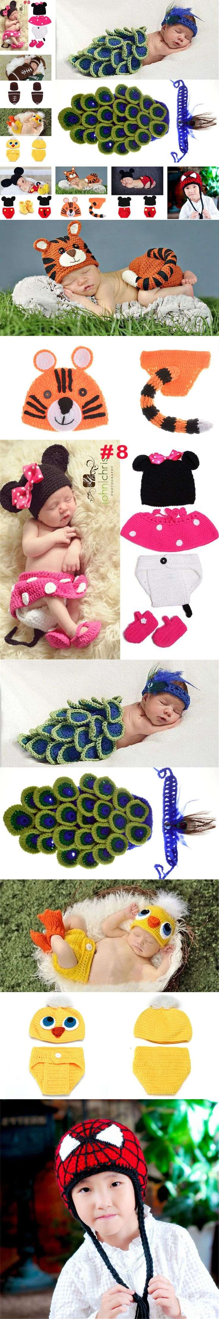 Peacock Design Baby Girl Photography Props Knitted Infant Newborn Baby Costume with Feather Headband 1set MZS-15015