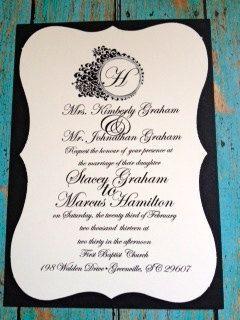 Elegant Black & White Wedding InvitationSample by TheCashmerePig, $3.00
