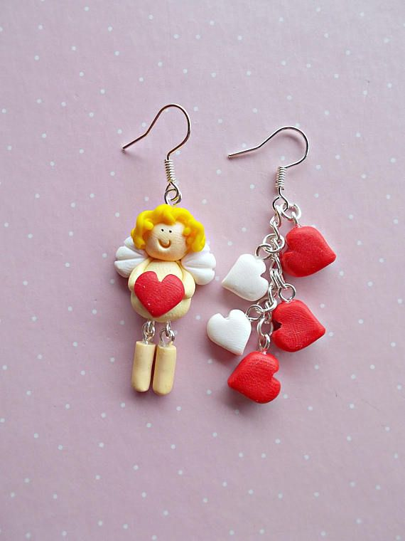 Valentine's day Cupid with red and white hearts earrings