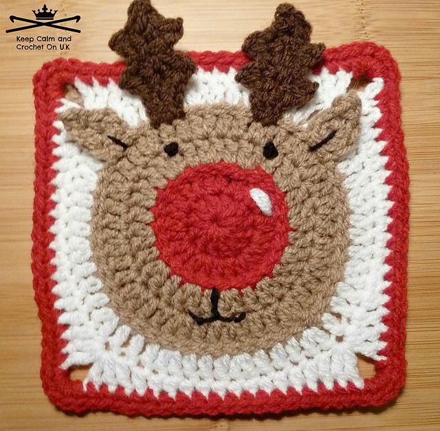 Inspiration: Paid Pattern Ravelry: Rudolph the Reindeer Afghan Square pattern by Heather_C Gibbs