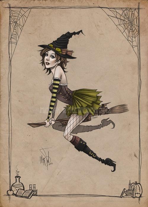 Steampunk witch pin-up illustration digital art lustre print by MeganMissfit