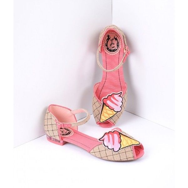 Retro Style Pink & Woven Hemp Gelato Flats Shoes ($115) ❤ liked on Polyvore featuring shoes, flats, pink shoes, peep-toe flats, pink flat shoes, peep toe shoes and ankle wrap flats