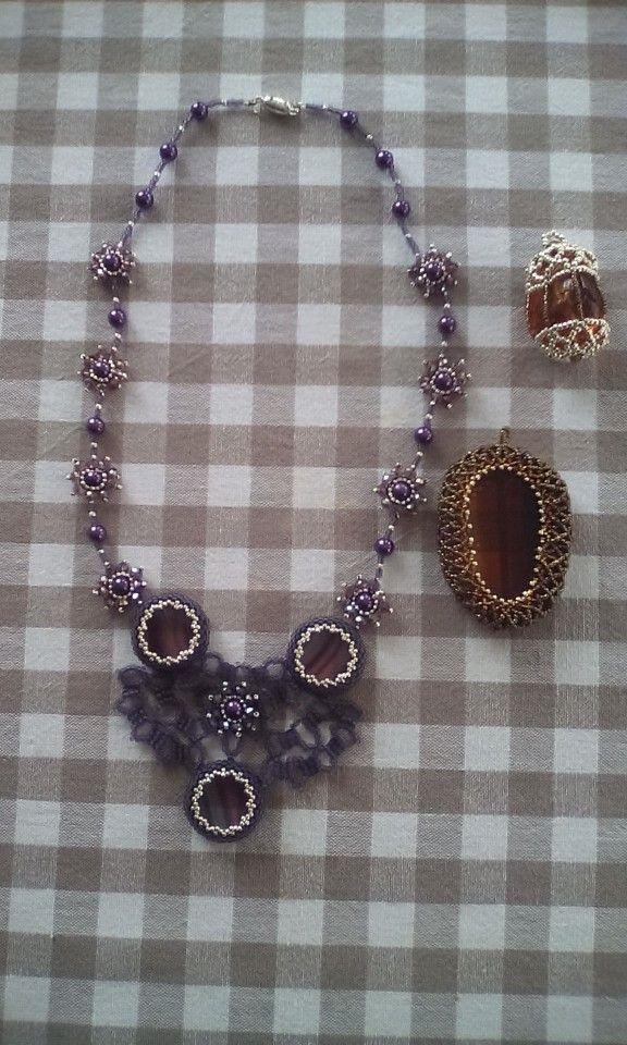 Purple necklace+ 2 irregular pendants