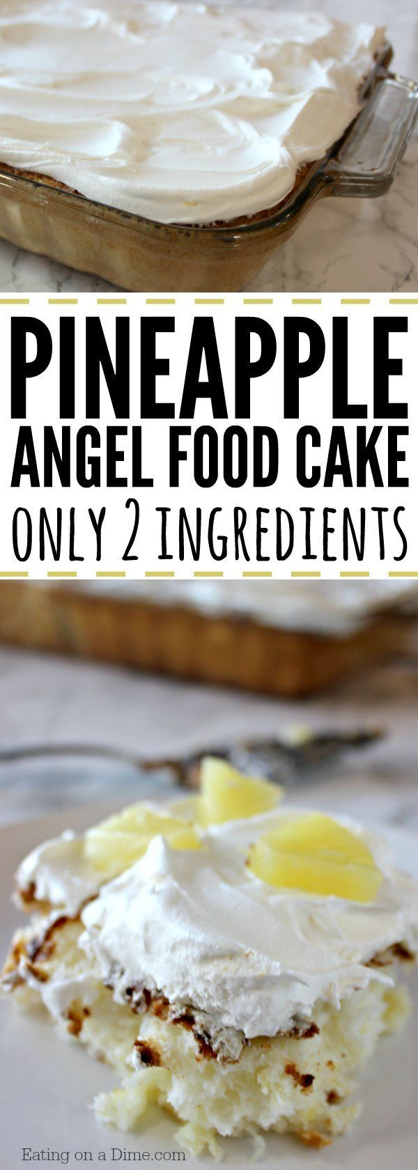 Make this easy pineapple angel food cake recipe today! With just 2 ingredients you will love it. Angel food cake and crushed pineapple make the best cake!