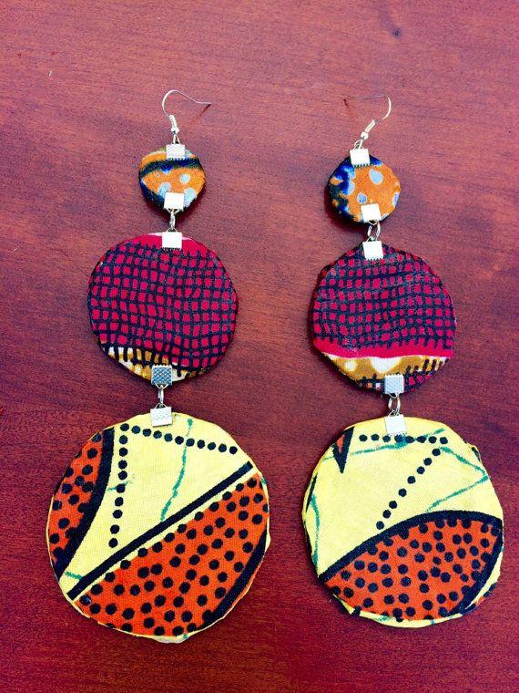 Three tier circle Ankara Dutch wax print African fabric Kitenge Vlisco oversized large statement dangle earrings