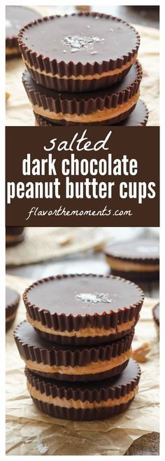 Salted Dark Chocolate Peanut Butter Cups are a healthier way to enjoy your peanut butter cups with zero added sugar and only 4 ingredients! /FlavortheMoment/ (Christmas Bake Peanut Butter)