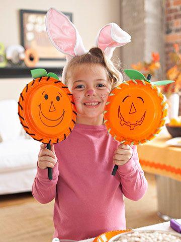 N is for: NOISEMAKERS - Pumpkin Noisemakers Craft
