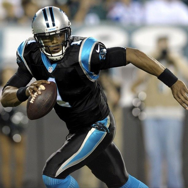 "Silver/Black/Black Cam Newton in action. (8/15 vs. Eagles) The ""Greatest NFL Uniform of Time"" per ESPN"