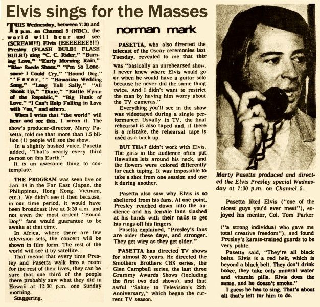 "Marty Pasetta who helmed ""Elvis: Aloha From Hawaii,"" which aired on Jan. 14, 1973, in more than 40 countries, died May 21, 2015. He was 82. Pasetta was struck by a car he had just exited in La Quinta, Calif., in Riverside County, the Desert Sun reported. He died at the scene, police said. - The concert special, featuring Elvis Presley at the Honolulu International Center, remains one of the most watched TV programs in history."