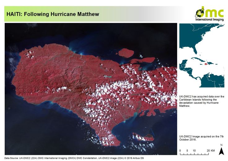 A map of Haiti following Hurricane Matthew.