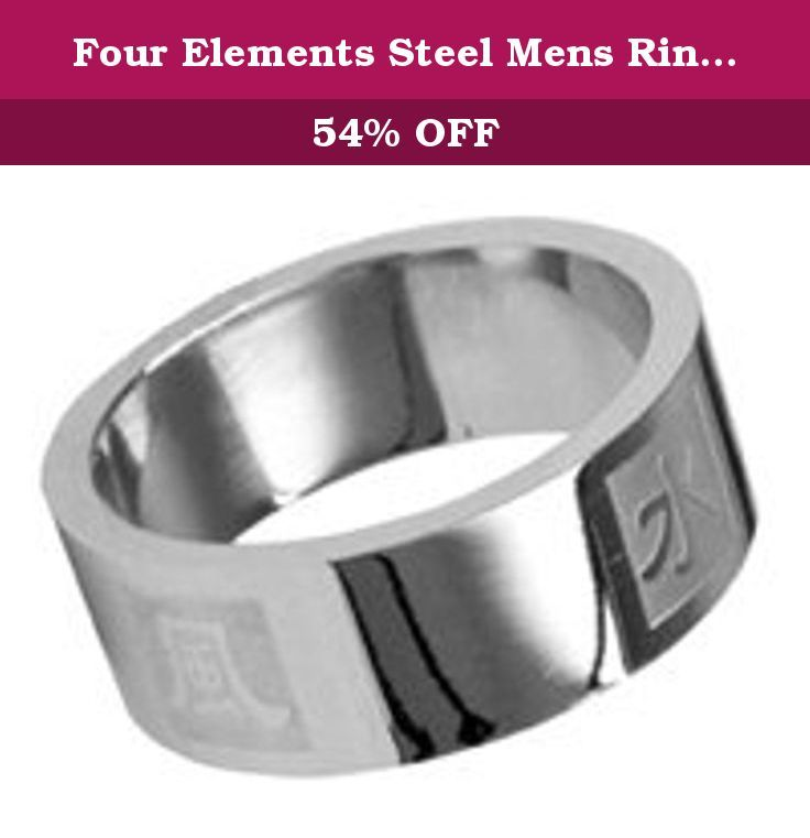 """Four Elements Steel Mens Ring - size 8. Polished stainless steel ringband with the Chinese symbols for the four elements: earth, water, fire and air. Band is 8mm (1/4"""") wide. Customer Testimonial: """"Just wanted to say thank you for this order! I placed this order late on Thursday night, and I got it today (Saturday). The ring looks amazing, and came in great condition. Your site has never let me down in the past, and I plan on coming back again for more things in the future. Thank you…"""