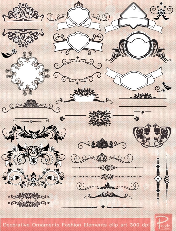Decorative Ornaments Frames clipart Digital Paper pack - scrapbook, tags, invitation, stationary - cpA78 -BUY 1 GET 1 FREE. $5.00, via Etsy.