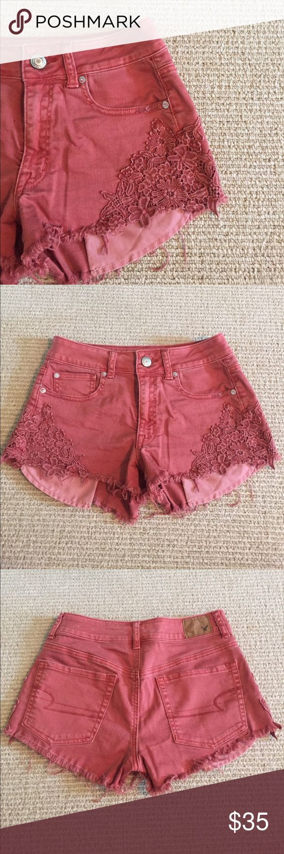American Eagle Red Jean Shorts American Eagle red hi-rise festival shortie. Stretch fit with pretty crochet design on each side of the leg. Frayed at the bottom and then pockets hang out a little bit, but not too much! Super cute and comfortable shorts that aren't for sale at American Eagle anymore. American Eagle Outfitters Shorts