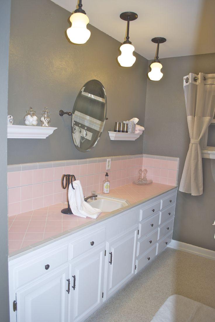 Pink camo bathroom decor - 1950 S Pink Tile Bathroom