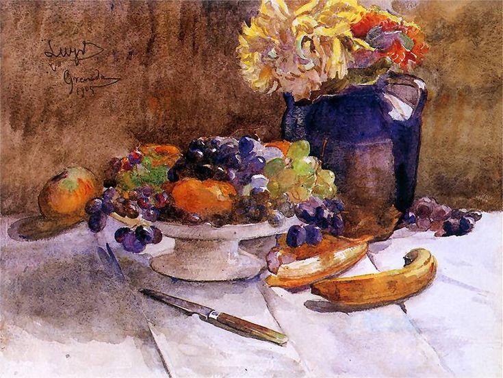 Leon Wyczółkowski ;   Martwa natura z winogronami i nożem.  1905.  Własność prywatna