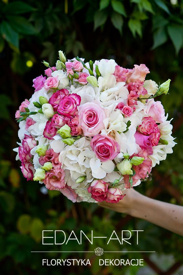 Bukiety Ślubne Edan-Art Mrągowo, Olsztyn, Warmińsko-Mazurskie, biały, róż, ślub, hortensja, róża gałązkowa, frezja, eustoma, róża, #bukiet