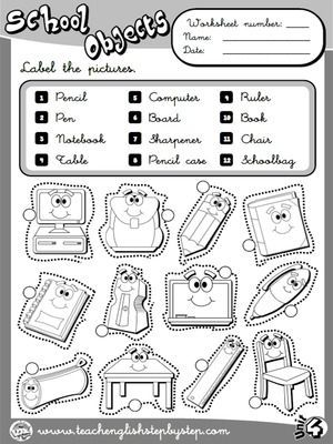 school objects worksheet 1 b w version classroom ensino de ingl s fichas de trabalho e. Black Bedroom Furniture Sets. Home Design Ideas