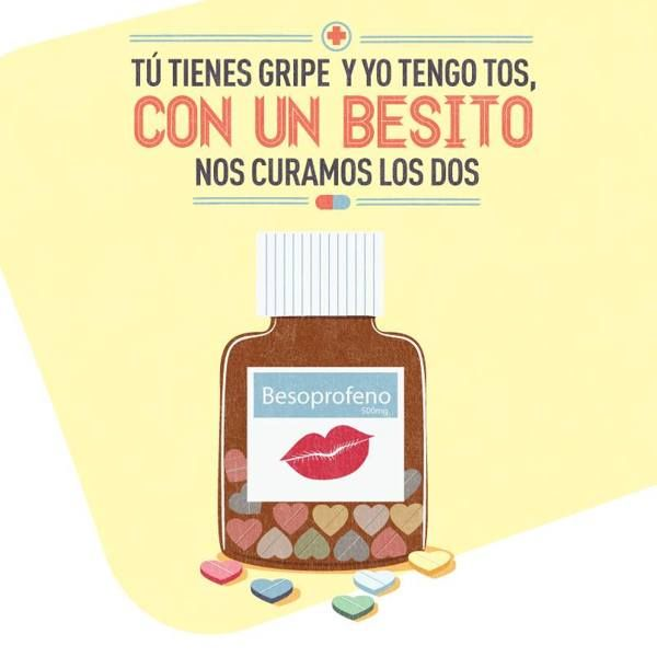 Endulza con Palabras by Raul Orozco, via Behance You have the flu, I have a cough and with a kiss we can cure both