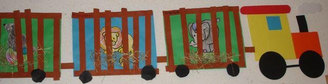 Circustrein op het platte vlak  Dit knutselwerkje kan in diverse niveaus aangeboden worden. In dit geval zijn de dieren door de allerjongsten gekleurd. Daarna moesten zij de wielen uitprikken/uitknippen en de al voorgemeten tralies opplakken. Voor de wat oudere kinderen zou het tevens een goede meetoefening zijn.