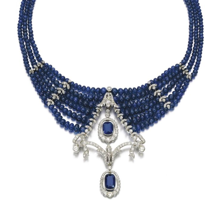 Sapphire and diamond necklace, circa 1910 and late…