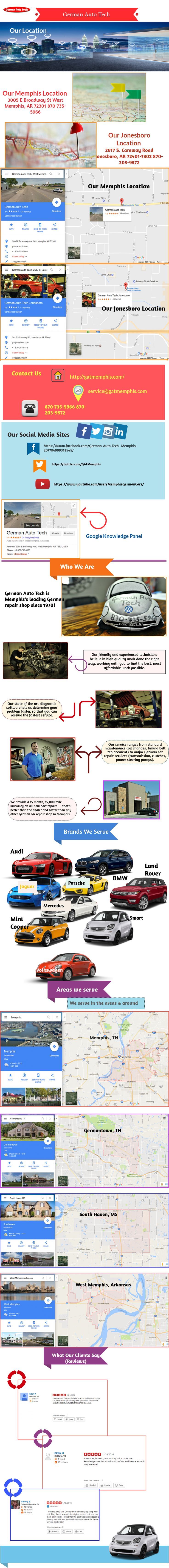 German Auto Tech is Memphis's leading German repair shop since 1970! We provide a 15 month, 15000 mile warranty on all new part repairs—that's better than the dealer and better than any other German car repair shop in Memphis. What's more? Want to know what customers say about us? Go through the infographics here for the complete details about our shop. http://gatmemphis.com/