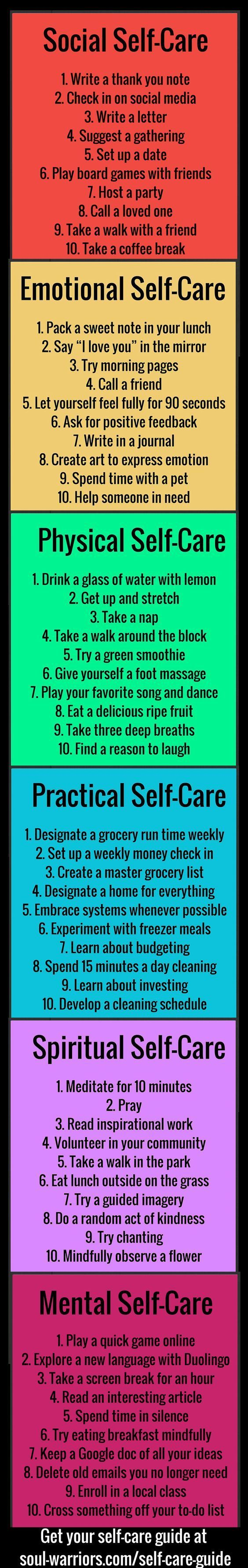 Self care tips for all aspects of your life. Write your own. Set goals. Use them for moving forward, changing and for coping skills when under pressure.: