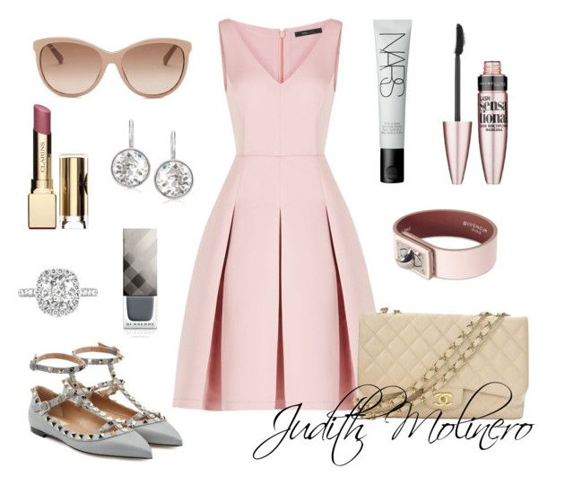"""""""Pink netting with grey"""" by judith-molinero-fashion on Polyvore featuring BCBGMAXAZRIA, Valentino, Chanel, Givenchy, NARS Cosmetics, Gucci, Maybelline, Swarovski, Clarins and Burberry"""