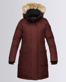 Nobis Merideth Crosshatch Ladies Parka Jacket Red Rum