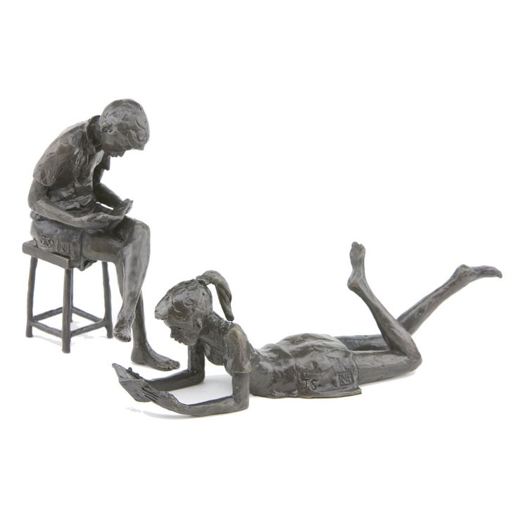 Solid Bronze sculptures, 'Large Seated Boy' - 14cm high and Large Girl Reading Book - 7cm high.  Both Limited Editions of 250 castings.  Hand cast in Britain by Nelson & Forbes.  Sculpted by Jonathan Sanders.