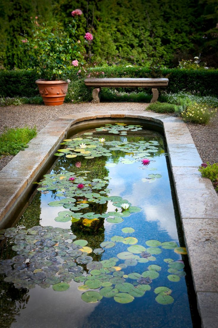 A gravel patio surrounds the elegant koi pond, and stone benches are placed throughout the space to allow people to enjoy the tranquili… | Garden ideas | Pond landscaping, Water features in the garden, Ponds backyard