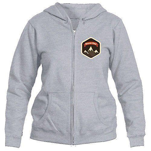 Snow Day Mountain Badge - Women's Full-Zip Hooded Sweatshirt/Hoodie (X-Large Sport Grey)