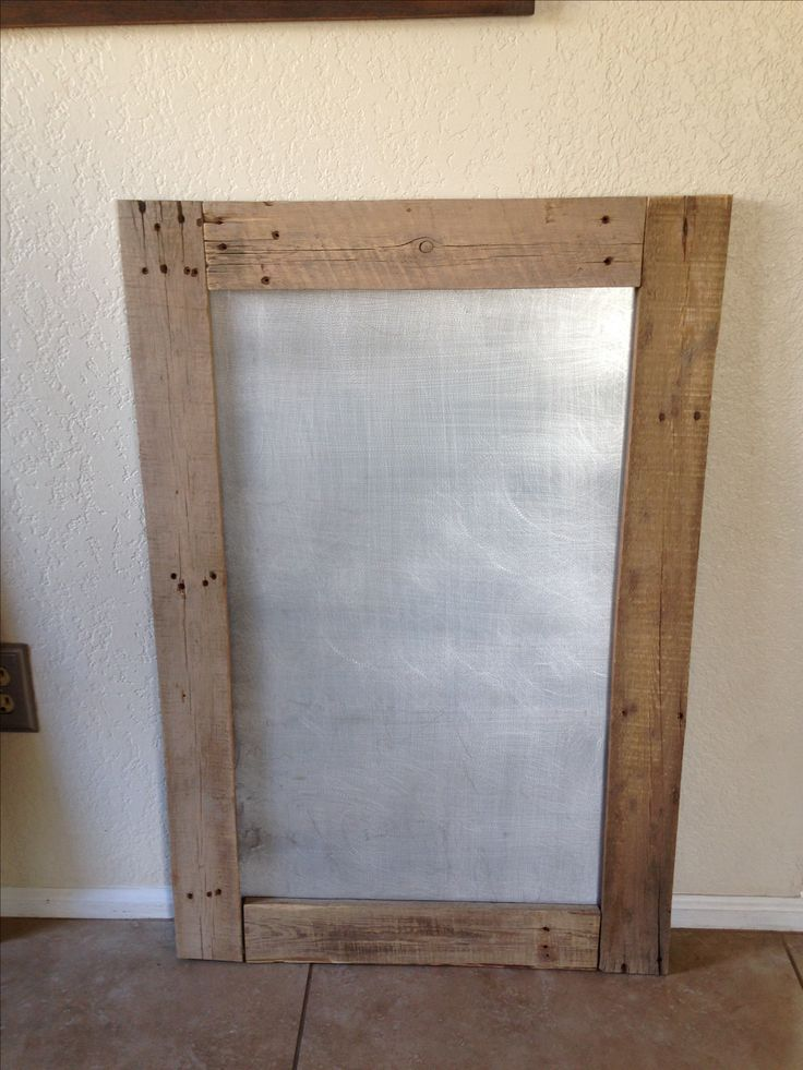 magnetic bulletin board with pallet wood and sheet metal