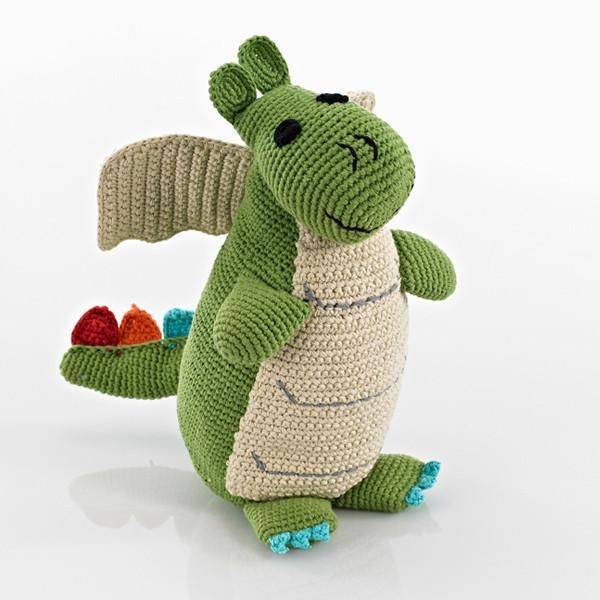 This friendly chap has a smile for any little boy or girl. This crocheted toy was handmade by women in Bangladesh, so slight variations in colour, size and desi