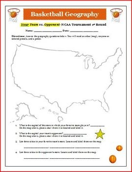 NCAA Basketball Tournament Geography Activity (6 pages   KEY)This is a great activity for your students to use regarding the NCAA Men's Basketb...: Student