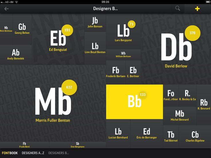 custom UI, fontbook, dark, spot colour, ipad
