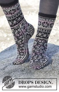 """Knitted DROPS socks with Nordic pattern in """"Fabel"""". Size 35-43 ~ DROPS Design"""